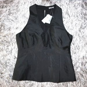 BNWT ANN TAYLOR Black Silk V-Neck Dressy Top-$68